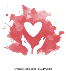 Vector heart and hand silhouette on faux watercolor red background