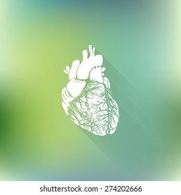 Vector heart icon with long shadow on green blurred background. Medical health symbol.