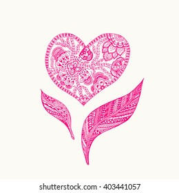 Vector heart and leafs shaped background. Doodle zentangle pattern coloring book, pink and white zentangle background for valentines day greeting card. paisley hand made heart