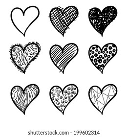 Vector heart. Logo heart. Icon heart. Broken heart. Wooden heart. Happy love. Unhappy love. Vector seamless pattern with hearts. Background with hearts. Modern heart