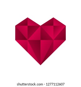 Vector heart logo. Logo of love red heart made of abstract geometric polygon shapes.