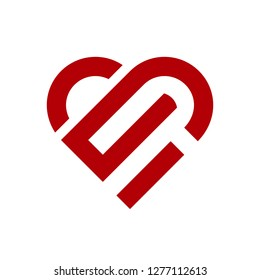 Vector heart logo. Logo of love red heart made of abstract geometric shapes and lines.