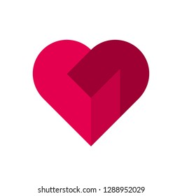 Vector heart logo. Logo of love red heart made of abstract geometric shapes.