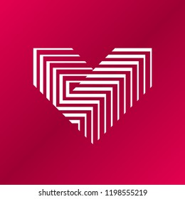 Vector heart logo. V letter logo design. Logo of white heart made of abstract geometric shapes and lines on a red backrgound.