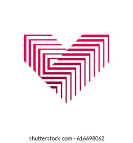 Vector heart logo. V letter logo design. Logo of red heart made of abstract geometric shapes and lines.