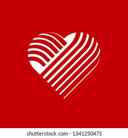 Vector heart logo. Logo of white love heart made of abstract geometric shapes and lines on a red background.