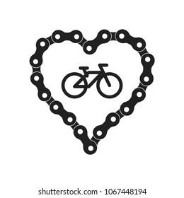 Vector Heart Made of Bike or Bicycle Chain. Flat Monochrome Bike Chain. Black Heart Silhouette plus Bicycle Sample Icon.