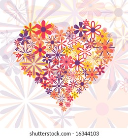 Vector heart made from flowers in funky colors