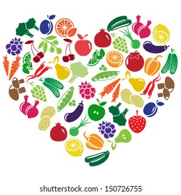 vector heart made of fruits and vegetables