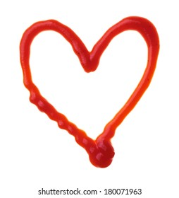 Vector heart is made of ketchup
