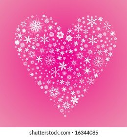 Vector heart made from snow flakes on a pink background