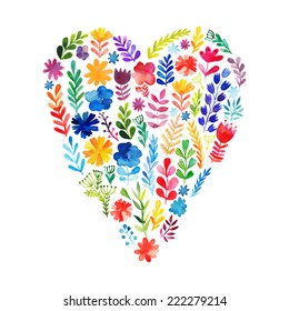 Vector heart made of watercolor flowers. Ecology emblem. Valentine's Day card. Heart icon. Autumn-summer botanical elements