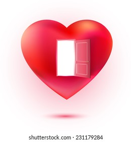 Vector heart with open door. Sweet love and invitation concept. Valentines illustration. Waiting love idea.
