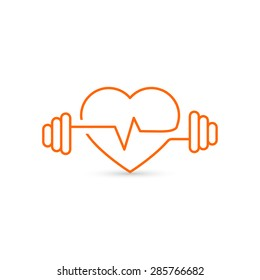 Vector heart outline, dumbbells and a cardiogram. Icon symbolizing health and sport. Lifestyle