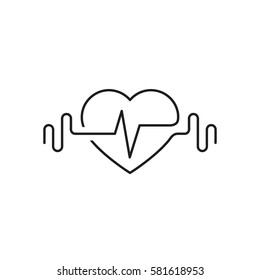 Vector heart outline, dumbbells and a cardiogram. Icon symbolizing health and sport. Lifestyle. Line art