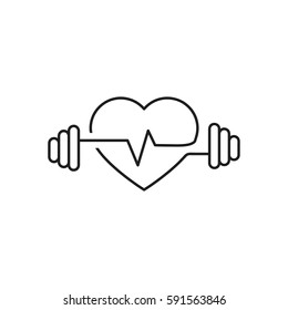 Vector heart outline, dumbbells and a cardiogram. Icon symbolizing health sport. Lifestyle. Line art