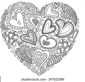 Vector heart pattern for coloring book. Ethnic design in east style. Black line on white background. Valentine card idea.
