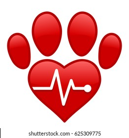 Vector heart paw cardiac. Isolated background.
