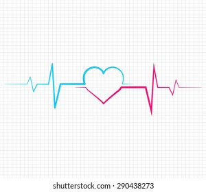Vector heart pulse on white background. Light Abstract Technology background for computer graphic website and internet.