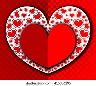 Vector heart red, white, love, Valentine's Day. Shadow