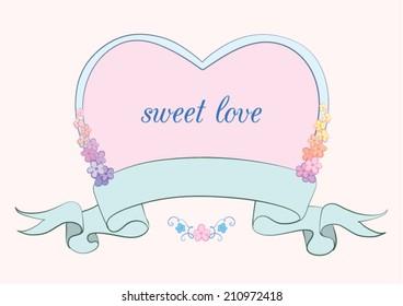 Vector heart, ribbon, flowers