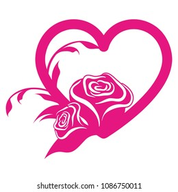 Vector heart with roses. Suitable for paper cut or laser die.