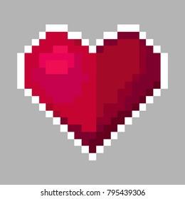 vector heart, saint valentine's day, pixel art illustration