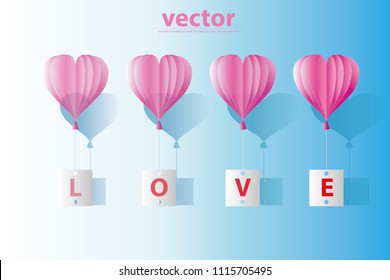 vector heart shape balloon tie the paper write text love