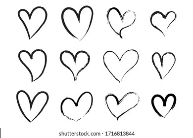 Vector Heart shape frame with brush. Heart hand drawn icons set isolated on white background. For poster, wallpaper and Valentine's day. Collection of hearts, vector illustration
