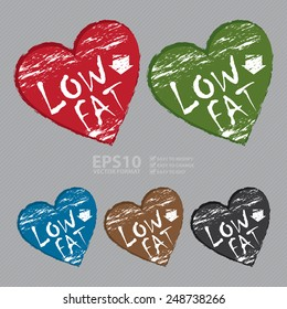 Vector : Heart Shape Low Fat Sticker, Icon or Label