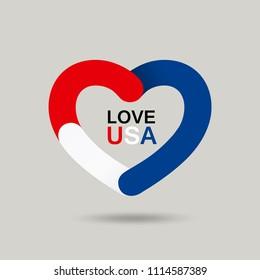 Vector Heart shape red, blue, white color flag of america, design background, illustration