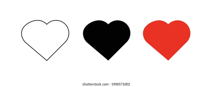 Vector of Heart Shape with simple white background. Set of Heart Shape.