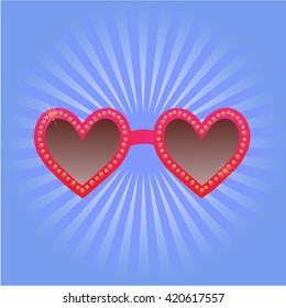 Vector heart shape sun glasses