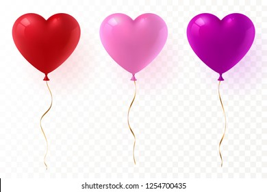 Vector heart shaped balloons set isolated on transparent background. Red, pink and purple glossy balloon with gold ribbon. Festive decoration element for Valentine's Day or Wedding. Eps 10.