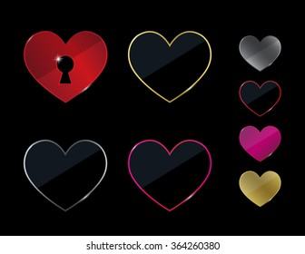 Vector heart shapes with a keyhole silhouette cutout. Series of outlined and solid hearts in metallic colors.