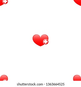 Vector heart sign with a red cross. Seamless Wallpaper pattern.