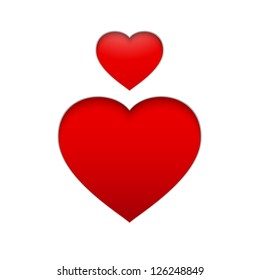 Vector Heart Symbol. Isolated illustration of red heart on white background. Vector illustration, eps 10, contains transparencies.