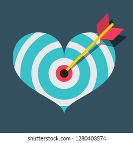 Vector Heart Target with Dart Flat Design Illustration