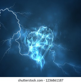 vector heart and thunderbolt. the passion of the elements, the wrath of the storm