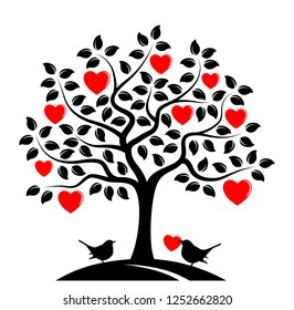vector heart tree and couple of birds isolated on white background
