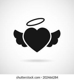 Vector heart with wings icon and halo on top