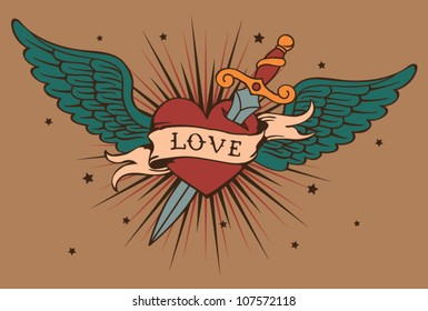 vector heart with wings and knife