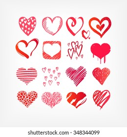 Vector hearts collection. Hand drawn sketch