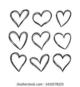 Vector hearts in doodle style. Set of hearts isolated on white background.