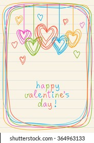 Vector hearts and frame of doodles. Valentine's day and wedding card. Cute illustration for print, web