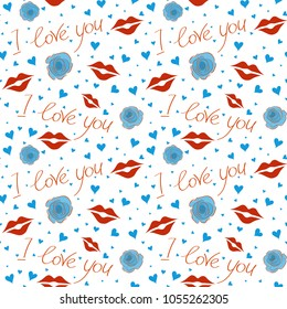Vector hearts and love seamless pattern. St Valentine day pattern with hand drawn hearts, flower and love text in orange, white and blue colors. Design for Valentines day greeting love card.