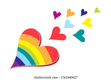 Vector hearts in rainbow colors isolated on a white background