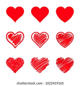 Vector hearts set. Different style and shape.