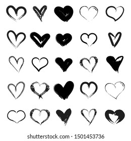 Vector hearts set. Hand drawn. Set of heart icons, hand drawn icons and illustrations for valentines and weddings isolated on white background. Vector illustration for your graphic design
