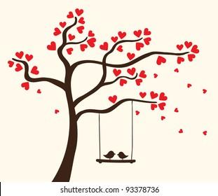 Vector hearts tree